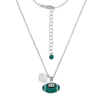 Oregon Ducks Sterling Silver Team Logo & Crystal Football Pendant Necklace