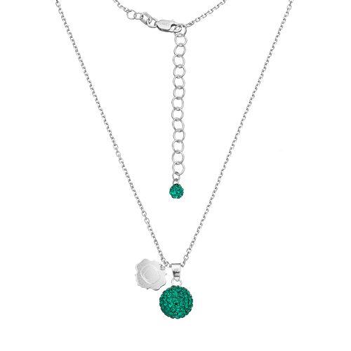 Oregon Ducks Crystal Sterling Silver Team Logo & Ball Pendant Necklace