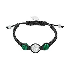 Oregon Ducks Crystal Ball & Sterling Silver Team Logo Slipknot Bracelet