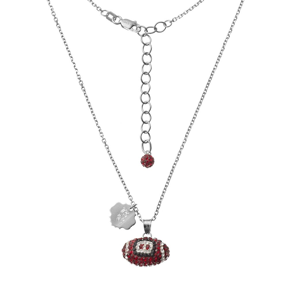 South Carolina Gamecocks Sterling Silver Team Logo & Crystal Football Pendant Necklace