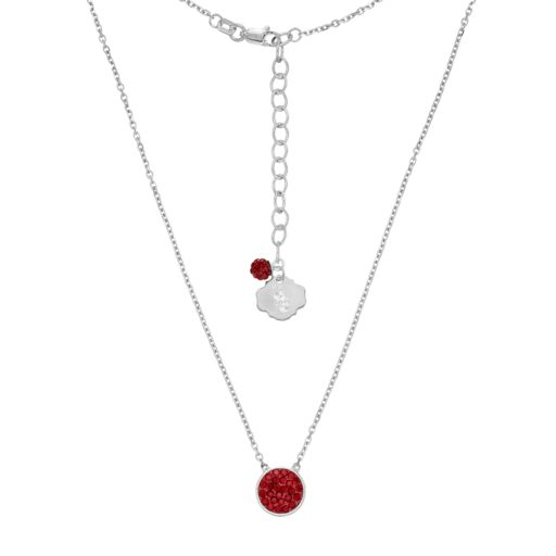 South Carolina Gamecocks Sterling Silver Crystal Disc Necklace
