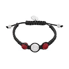 South Carolina Gamecocks Crystal Ball & Sterling Silver Team Logo Slipknot Bracelet