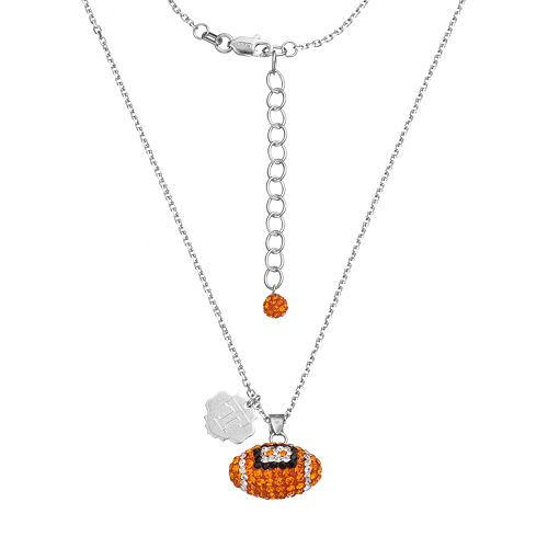 Tennessee Volunteers Sterling Silver Team Logo & Crystal Football Pendant Necklace