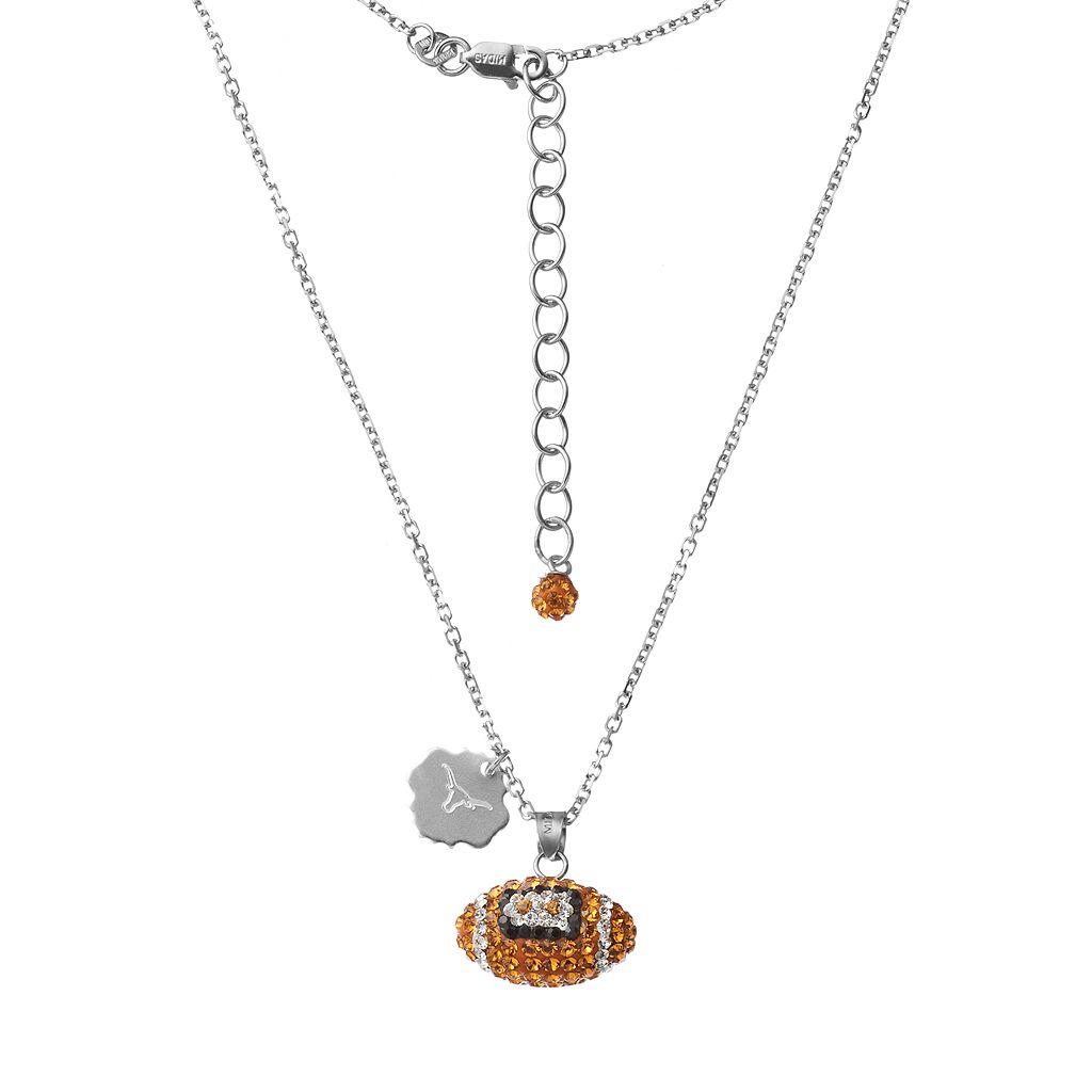 Texas Longhorns Sterling Silver Team Logo & Crystal Football Pendant Necklace