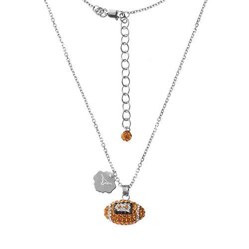 Texas Longhorns Sterling Silver Team Logo & Crystal Football Pendant Necklace