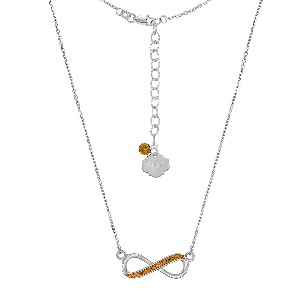 Texas Longhorns Sterling Silver Crystal Infinity Necklace