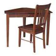 International Concepts 2 pc Corner Desk and Chair Set