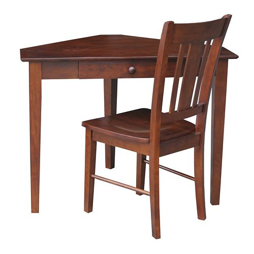International Concepts 2-piece Corner Desk and Chair Set