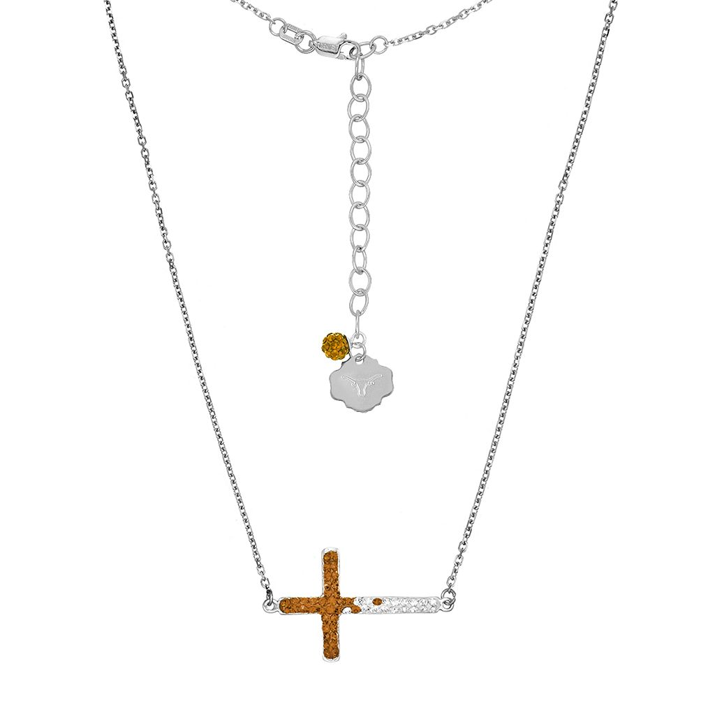 Texas Longhorns Sterling Silver Crystal Sideways Cross Necklace
