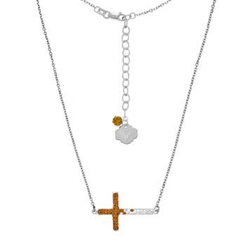 Texas Longhorns Sterling Silver Crystal Sideways Cross Necklace