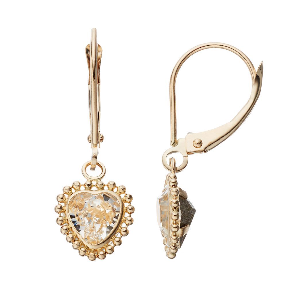 Gold 'N' Ice 10k Gold Crystal Heart Drop Earrings