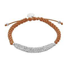 Texas Longhorns Crystal Sterling Silver Bar Link & Team Logo Charm Slipknot Bracelet