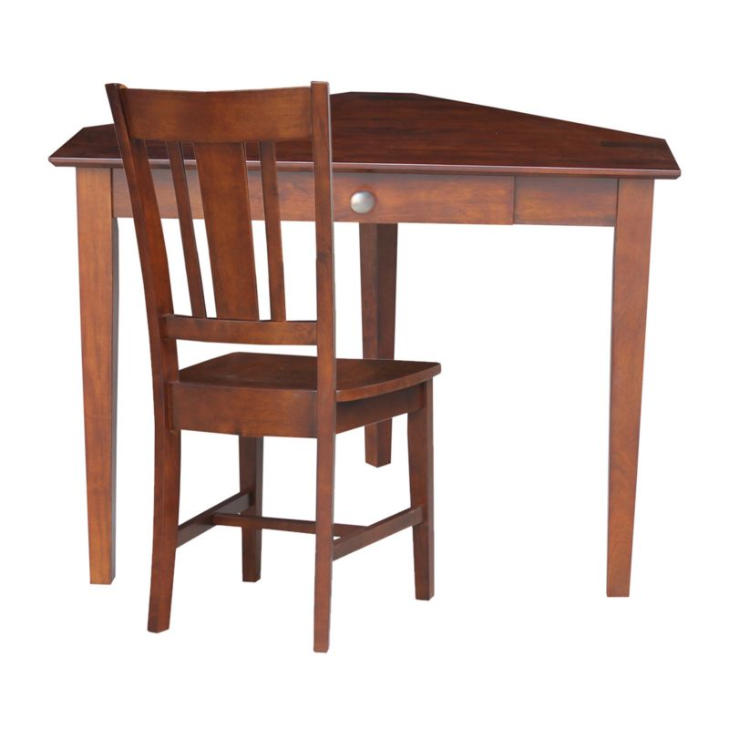 International Concepts 2-piece Computer Desk and Chair Set, Brown