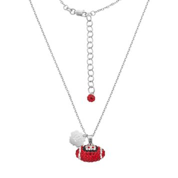 Wisconsin Badgers Sterling Silver Team Logo & Crystal Football Pendant Necklace