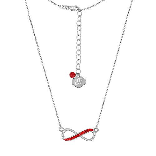 Wisconsin Badgers Sterling Silver Crystal Infinity Necklace