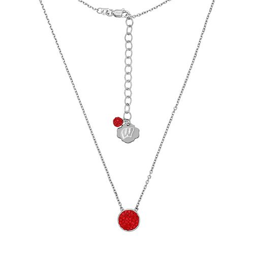 Wisconsin Badgers Sterling Silver Crystal Disc Necklace