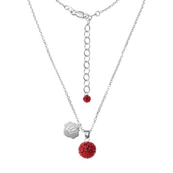 Wisconsin Badgers Crystal Sterling Silver Team Logo & Ball Pendant Necklace