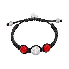 Wisconsin Badgers Crystal Ball & Sterling Silver Team Logo Slipknot Bracelet