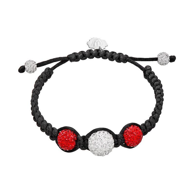 Wisconsin Badgers Crystal Ball & Sterling Silver Team Logo Slipknot  Bracelet, Women's, Size: 7″, Red