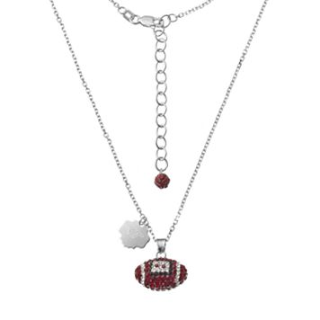 Virginia Tech Hokies Sterling Silver Team Logo & Crystal Football Pendant Necklace