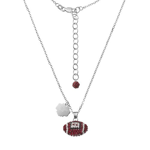 Virginia Tech Hokies Sterling Silver Team Logo & Crystal Football Pendant Necklace