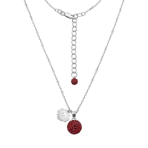 Virginia Tech Hokies Crystal Sterling Silver Team Logo & Ball Pendant Necklace