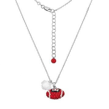 Washington State Cougars Sterling Silver Team Logo & Crystal Football Pendant Necklace