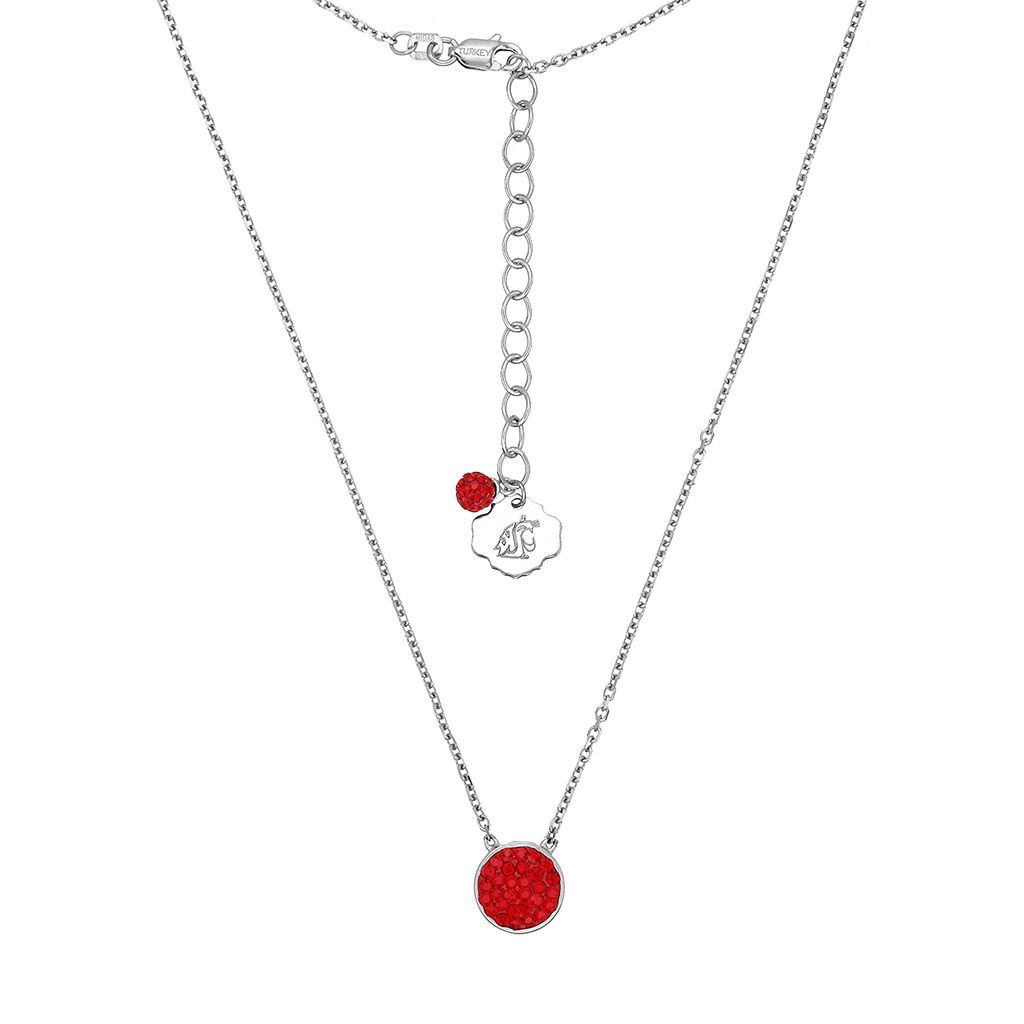 Washington State Cougars Sterling Silver Crystal Disc Necklace