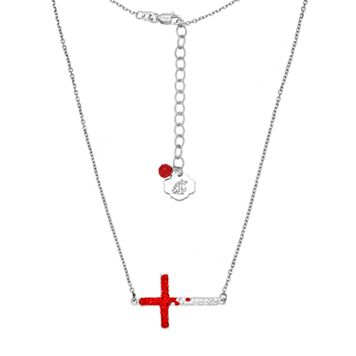 Washington State Cougars Sterling Silver Crystal Sideways Cross Necklace