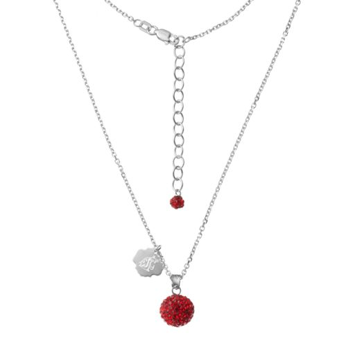Washington State Cougars Crystal Sterling Silver Team Logo & Ball Pendant Necklace
