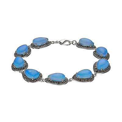 Tori HillSimulated Blue Opal Doublet & Marcasite Teardrop Bracelet