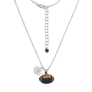West Virginia Mountaineers Sterling Silver Team Logo & Crystal Football Pendant Necklace