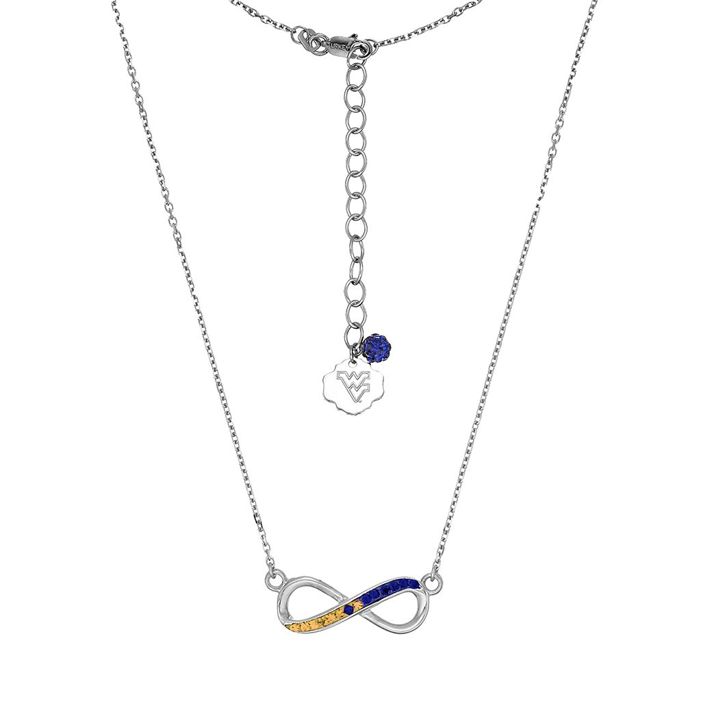 West Virginia Mountaineers Sterling Silver Crystal Infinity Necklace