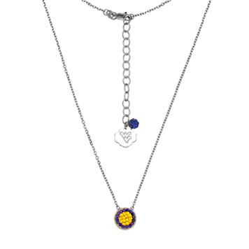 West Virginia Mountaineers Sterling Silver Crystal Disc Necklace