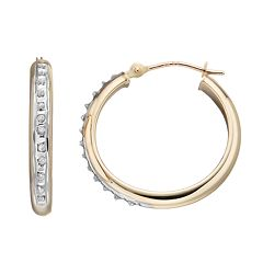 Diamond Fascination 10k Gold Tube Hoop Earrings
