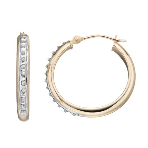 Diamond Fascination 10k Gold Tube Hoop Earrings