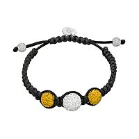 West Virginia Mountaineers Crystal Ball & Sterling Silver Team Logo Slipknot Bracelet
