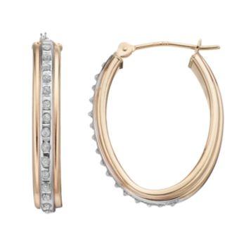Diamond Fascination 10k Gold Oval Tube Hoop Earrings