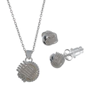 Pure 925 Sterling Silver Love Knot Pendant Necklace & Stud Earring Set