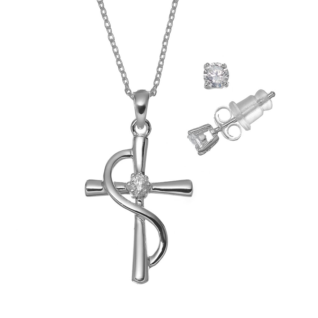 Pure 925 Cubic Zirconia Sterling Silver Cross Pendant Necklace & Stud Earring Set
