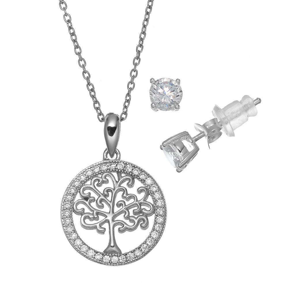 Pure 925 Cubic Zirconia Sterling Silver Family Tree Pendant Necklace & Stud Earring Set