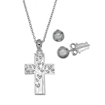 Pure 925 Sterling Silver Family Tree Cross Pendant Necklace & Stud Earring Set