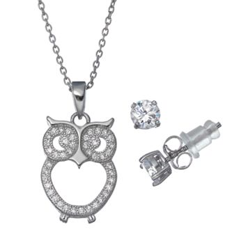 Pure 925 Cubic Zirconia Sterling Silver Owl Pendant Necklace & Stud Earring Set