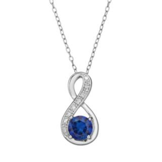 RADIANT GEM Lab-Created Sapphire Sterling Silver Infinity Pendant Necklace