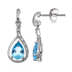 RADIANT GEM Blue Topaz Sterling Silver Teardrop Earrings