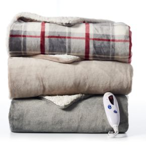 Biddeford Reversible Heated Sherpa Throw