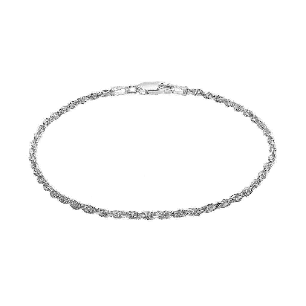 Sterling Silver Rope Chain Bracelet - 8 in.