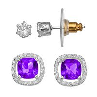 CITY ROX Cubic Zirconia Halo Stud Earring Set