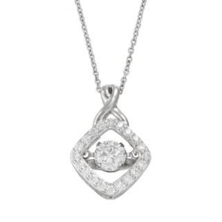Floating DiamonLuxe 1 1/2 Carat T.W. Simulated Diamond Sterling Silver Pendant Necklace