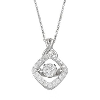 Floating diamonluxe 1 12 carat tw simulated diamond sterling floating diamonluxe 1 12 carat tw simulated diamond sterling silver pendant necklace mozeypictures Image collections